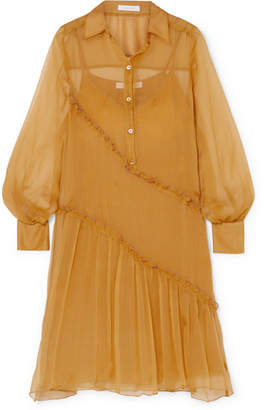 See by Chloe Ruffled Silk-crepon Dress - Yellow