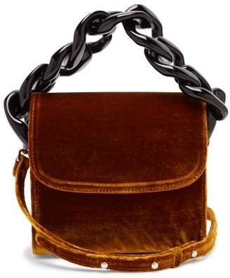Marques Almeida Marques'almeida - Chain Embellished Velvet Cross Body Bag - Womens - Gold Multi