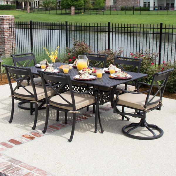 Lakeview Outdoor Designs Carrolton 6-Person Cast Aluminum Patio Dining Set With 2 Swivel Rockers and Rectangular Table
