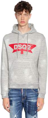 DSQUARED2 Hooded Brushed Cotton Jersey Sweatshirt