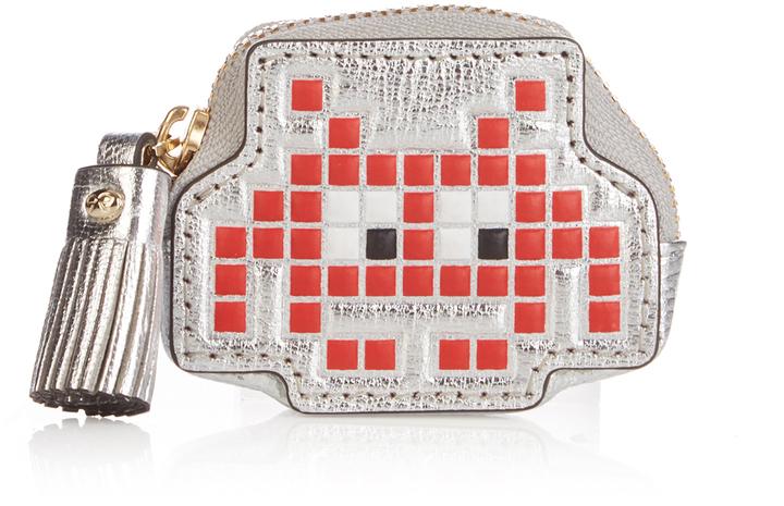 Anya HindmarchANYA HINDMARCH Space invader metallic leather coin purse