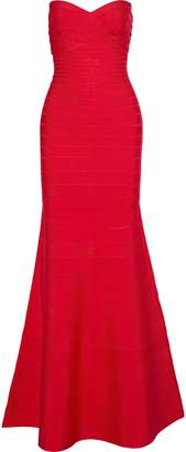 Herve Leger Sara Strapless Fluted Bandage Dress