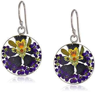 Sterling Silver Multi-Color Pressed Flower Circle Drop Earrings