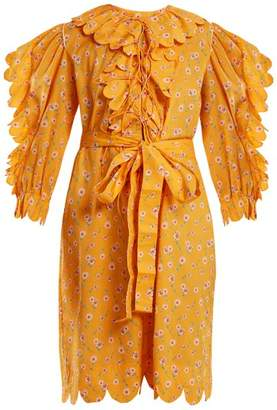 Horror Vacui - Daisy Print Scallop Ruffle Trimmed Cotton Dress - Womens - Yellow