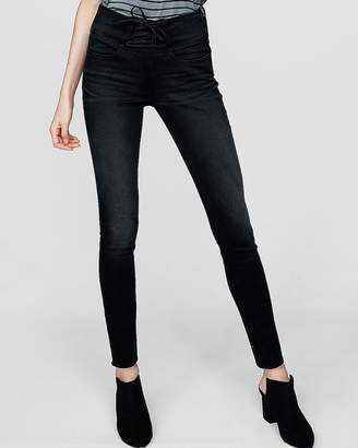 Express High Waisted Black Lace-Up Jean Leggings