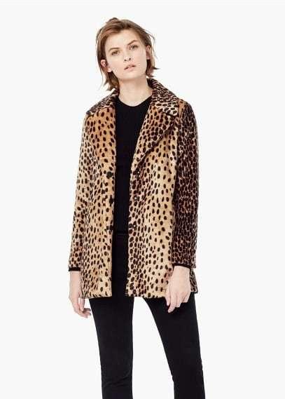 Mango Outlet MANGO OUTLET Leopard Faux-Fur Coat