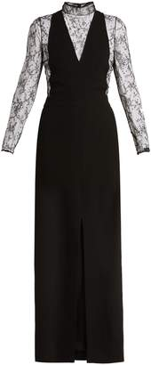 Givenchy Wool and floral-lace evening gown