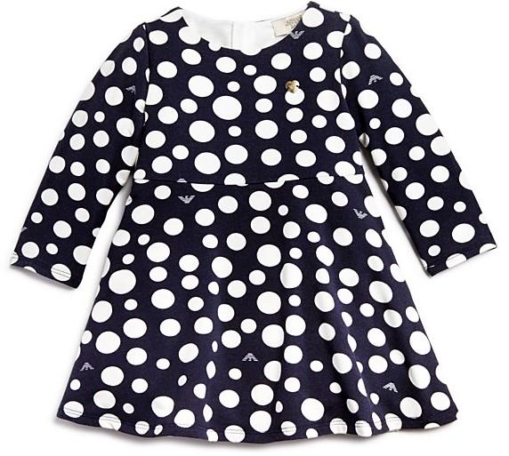 Armani JuniorArmani Girls' Polka Dot Long Sleeve Dress - Sizes 12-36 Months