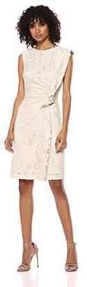 Tahari by Arthur S. Levine Women's Knit Boat Neck Dress with Side Ruffle