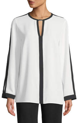 Misook Silky Keyhole-Front Blouse w/ Contrast Trim, White/Black