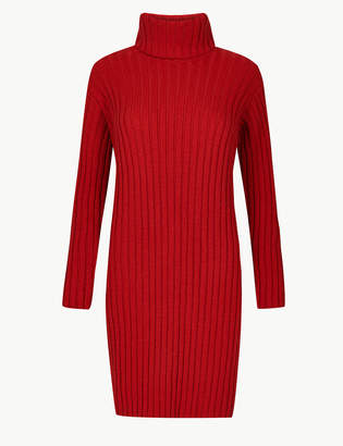 Marks and Spencer Ribbed Roll Neck Knitted Dress