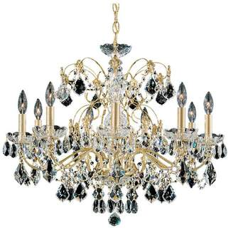Schonbek Century 9-Light Chandelier in Rich Auerelia Gold With Clear Heritage Crystal