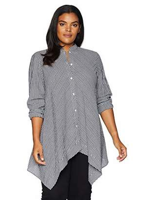 Anne Klein Women's Size Plus GINGAM Tunic Blouse