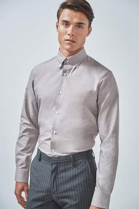 Next Mens Sand Slim Fit Single Cuff Easy Care Oxford Shirt - Natural