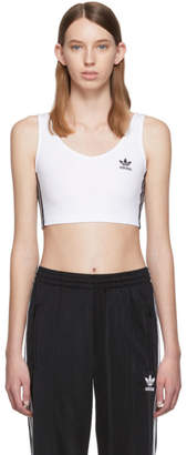 adidas White Crop Tank Top