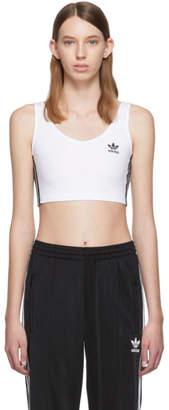 adidas White Crop Tank Top