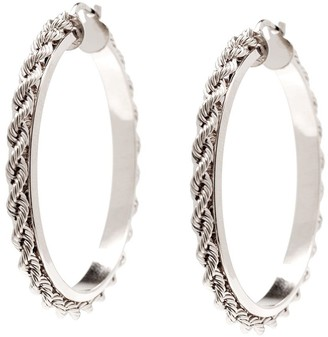 Italian Silver Sterling Rope Chain Round Hoop E arrings