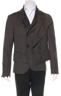 John Galliano Striped Wool Layered Blazer