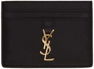 Saint Laurent Black Thick Leather Monogram Card Holder