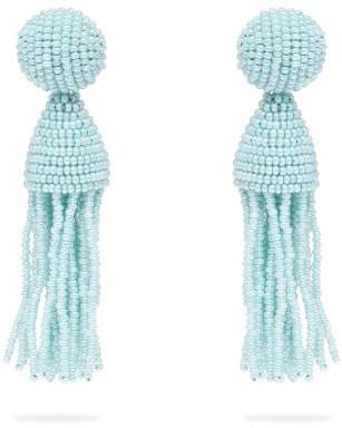 Oscar de la Renta Bead Embellished Tassel Drop Earrings - Womens - Light Blue