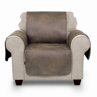 Serta Faux Leather Furniture Protector With Neverwet Chair Slipcover Fawn