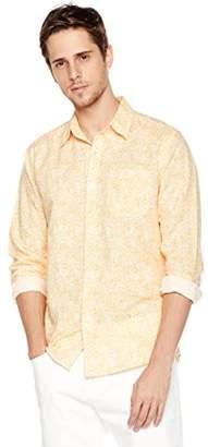 Isle Bay Linens Men's Long Sleeve Paisley Prints Standard Woven Hawaiian Shirt M