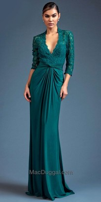 Mac Duggal Draped Lace Evening Gown $398 thestylecure.com