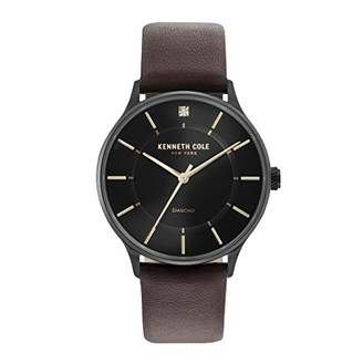 Kenneth Cole New York Men's 'Diamond' Quartz Stainless Steel and Leather Casual Watch