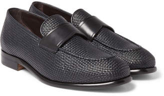 Ermenegildo Zegna Pelle Tessuta Leather Loafers