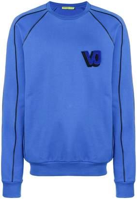 Versace flocked logo embroidered sweatshirt