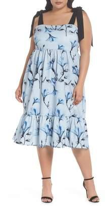 LOST INK Tie Shoulder A-Line Dress (Plus Size)