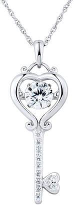 FINE JEWELRY Sterling Silver Dancing Cubic Zirconia Key Pendant