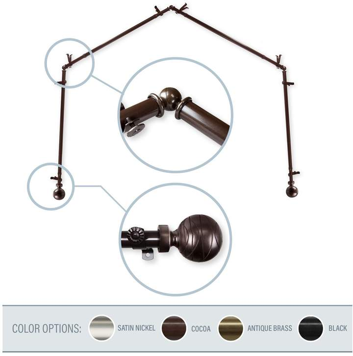 Arman Cocoa 4-Sided Bay Window Curtain Rod
