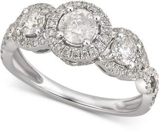 Macy's Diamond Triple Halo Ring (1-1/10 ct. t.w) in 14k White Gold