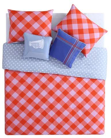 VCNY Pink & Orange Checker Reversible Comforter Set