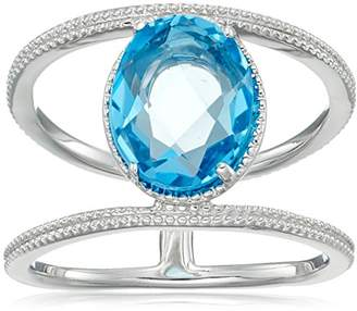 Sterling Bead Design Oval Swiss-Blue-Topaz Ring