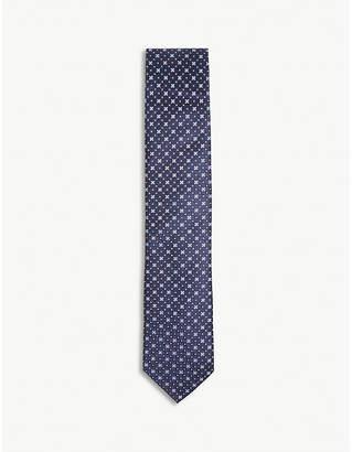 Eton Floral tile print silk tie