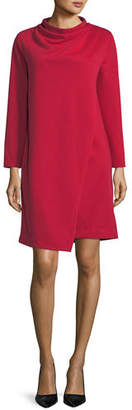 Joan Vass Plus Size Long-Sleeve Drape-Front Knit Dress