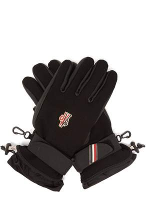 Moncler Leather and canvas ski gloves