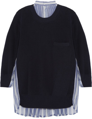 Sacai - Cotton And Striped Silk-organza Sweater - Midnight blue $745 thestylecure.com