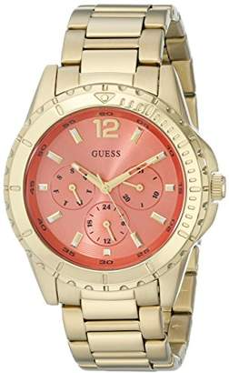 GUESS Women's U0590L1 Stainless Steel Gold-Tone Watch with Coral Multi-Function Dial