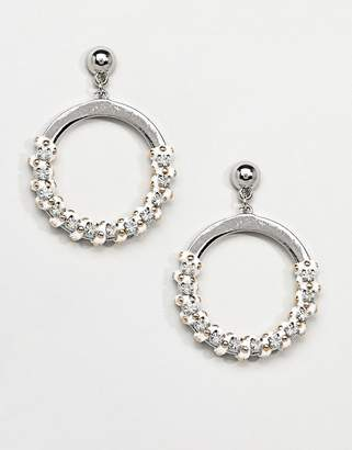 Missguided Studded Thread Wrap Detail Circle Earrings