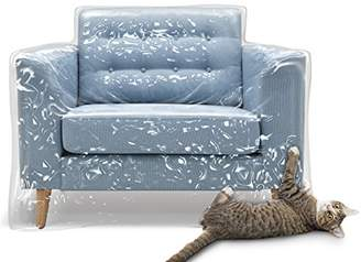 clear Plastic Recliner Armchair Cover for Pets | Cat Scratching Protector Clawing Deterrent | Heavy Duty Thick Vinyl Chair Slipcover | Waterproof Plastic Furniture Covers for Storage and Moving