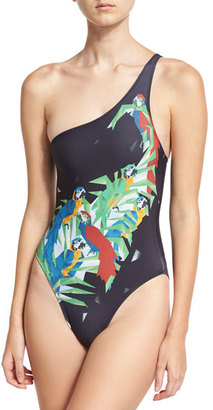 Norma Kamali Mio One-Shoulder Printed One-Piece Swimsuit, Black $225 thestylecure.com