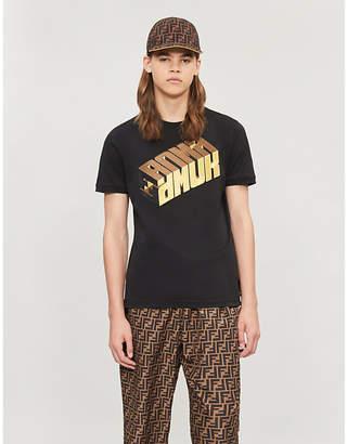 Fendi Cube logo-embroidered cotton-jersey T-shirt
