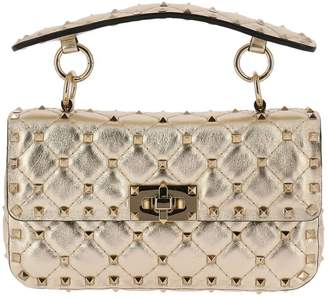 Valentino Mini Bag Rockstud Spike Mini Bag In Genuine Laminated Leather With Micro Studs And Removable Shoulder Strap