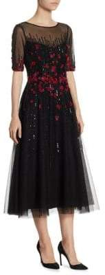 Teri Jon by Rickie Freeman Embellished Tulle Midi Dress