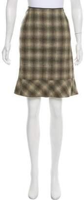 Calvin Klein Collection Plaid Wool Skirt