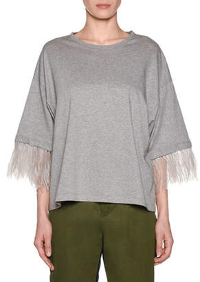 No.21 No. 21 Feather-Sleeve Oversized Crewneck Tee