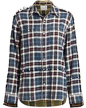 R 13 Women's Mended Mix Plaid Shirt